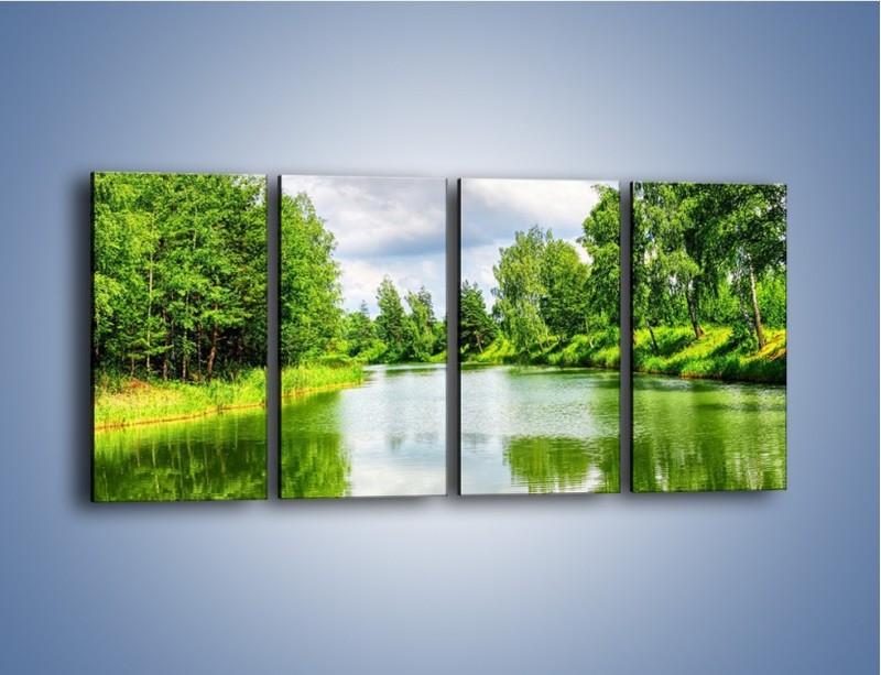 Obraz na płótnie – Spokojna woda i las – czteroczęściowy KN1086W1