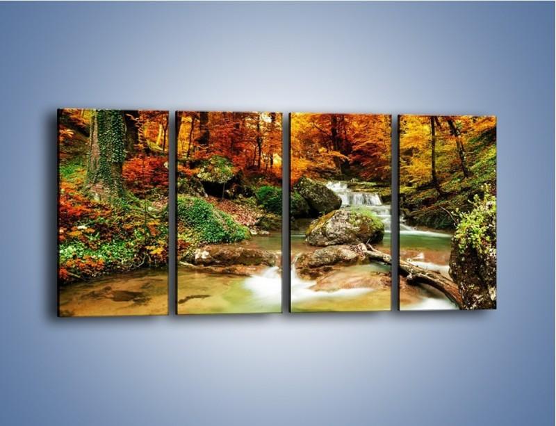 Obraz na płótnie – Jesienne kolory w lesie – czteroczęściowy KN1094AW1