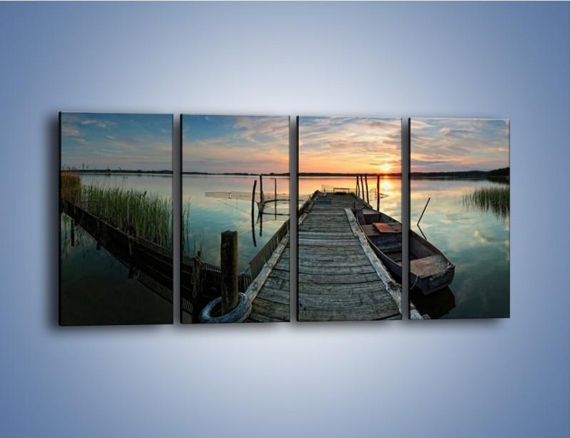 Obraz na płótnie – Stary most i łódź – czteroczęściowy KN1096AW1
