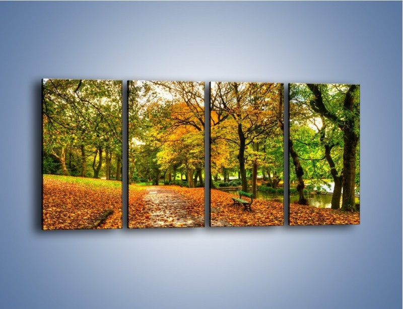 Obraz na płótnie – Piękna jesień w parku – czteroczęściowy KN1098AW1