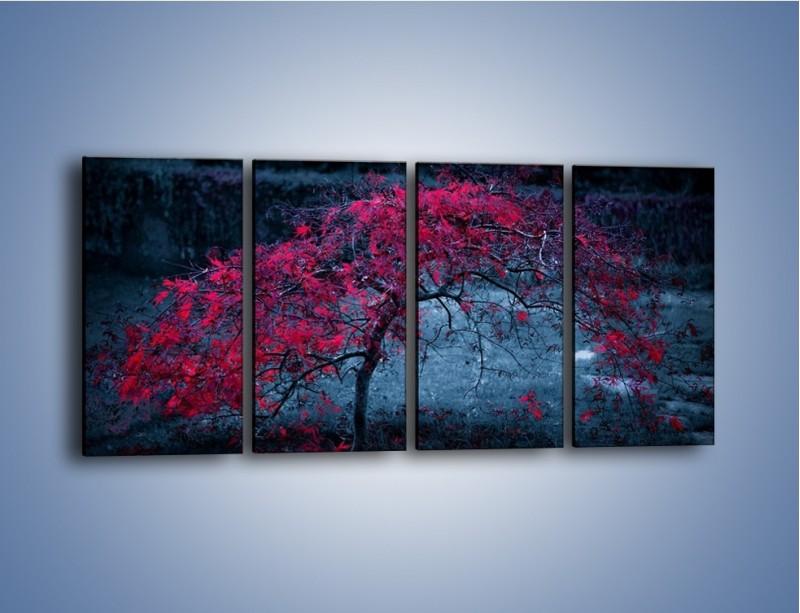 Obraz na płótnie – Czerwone płaczące drzewo – czteroczęściowy KN1101AW1