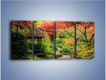 Obraz na płótnie – Alejka między kolorowymi drzewami – czteroczęściowy KN1113W1