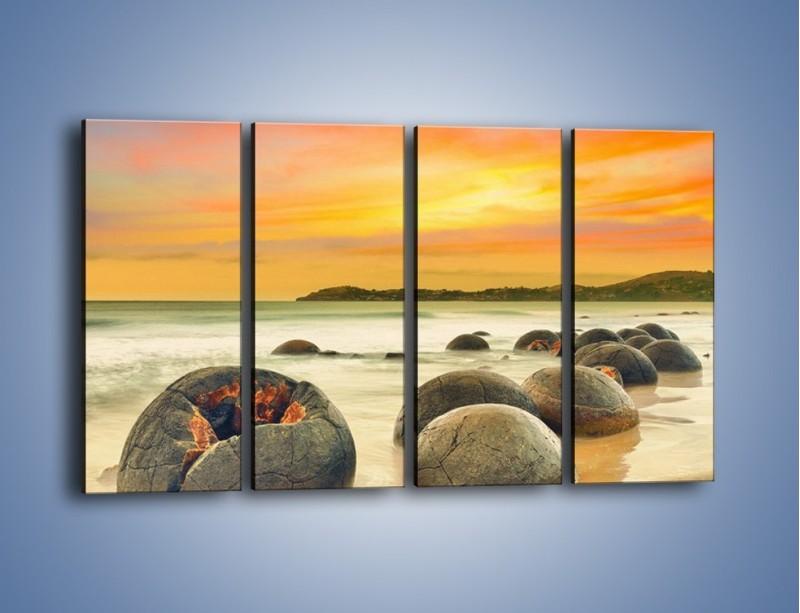 Obraz na płótnie – Popękane kamienne arbuzy – czteroczęściowy KN1125AW1