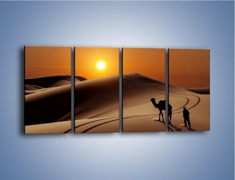 Obraz na płótnie – Człowiek wielbłąd i wydmy – czteroczęściowy KN1134AW1