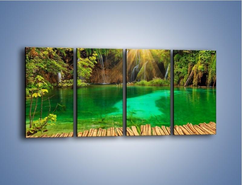 Obraz na płótnie – Zielone oczko wodne i drewno – czteroczęściowy KN1149AW1