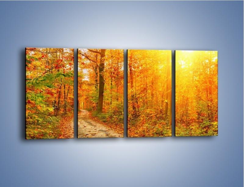 Obraz na płótnie – Leśną drużką jesienią – czteroczęściowy KN1163AW1