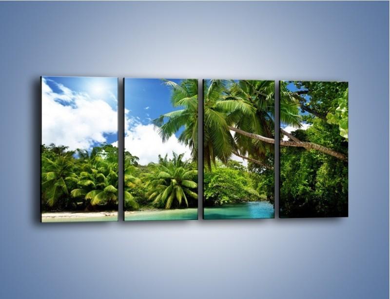 Obraz na płótnie – Rozłożone palmy i woda – czteroczęściowy KN1168AW1
