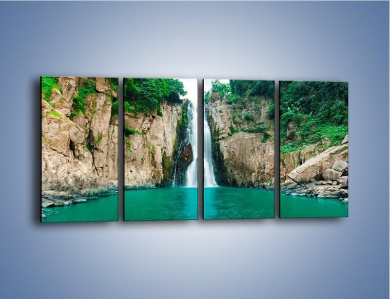 Obraz na płótnie – Skok ze skarpy do wody – czteroczęściowy KN1184AW1