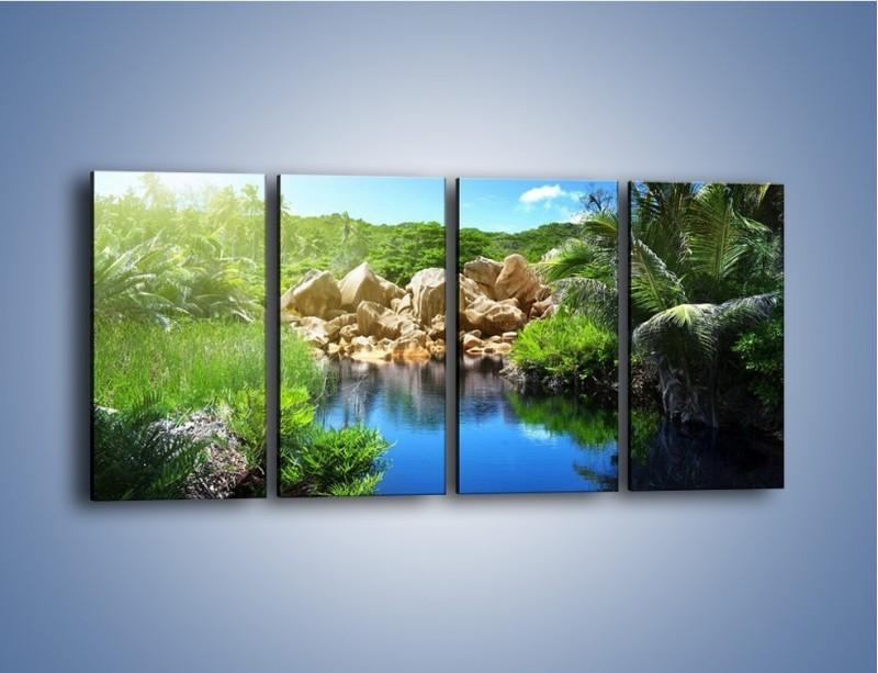 Obraz na płótnie – Wapienne skałki na wodzie – czteroczęściowy KN1188AW1