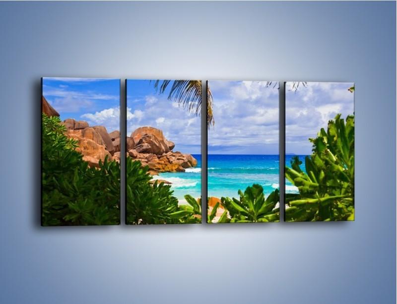 Obraz na płótnie – Urlop pod palmami – czteroczęściowy KN1191AW1