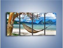 Obraz na płótnie – A może by odpocząć na hamaku? – czteroczęściowy KN1199AW1