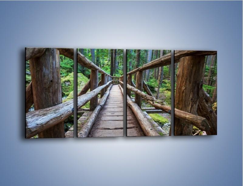 Obraz na płótnie – Mostek z drewnianych bali – czteroczęściowy KN1207AW1