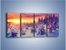 Obraz na płótnie – Choinki w śnieżnej szacie – czteroczęściowy KN1220AW1
