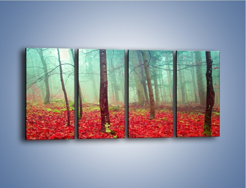 Obraz na płótnie – Drzewka na czerwonym dywanie – czteroczęściowy KN1222AW1