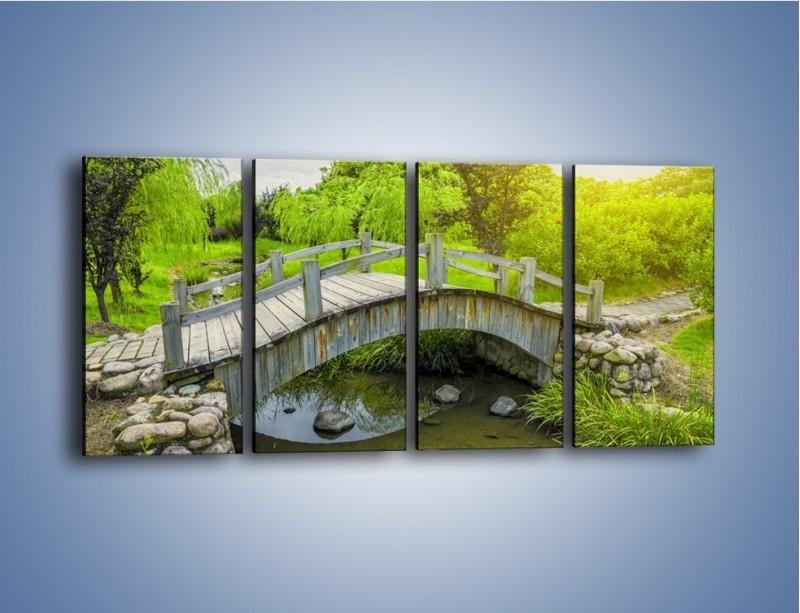 Obraz na płótnie – Mały mostek przez rzeczkę – czteroczęściowy KN1254AW1