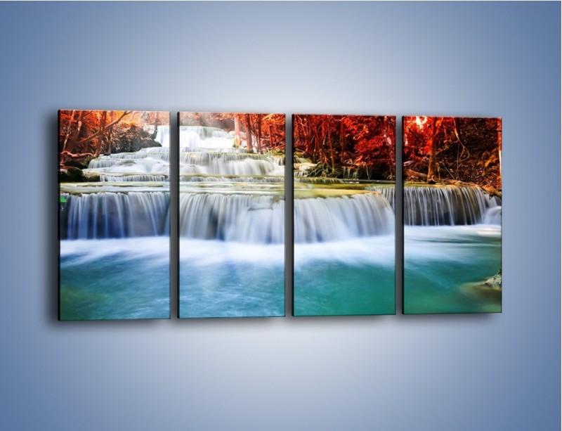 Obraz na płótnie – Jak przyjemnie nad wodą – czteroczęściowy KN1291AW1