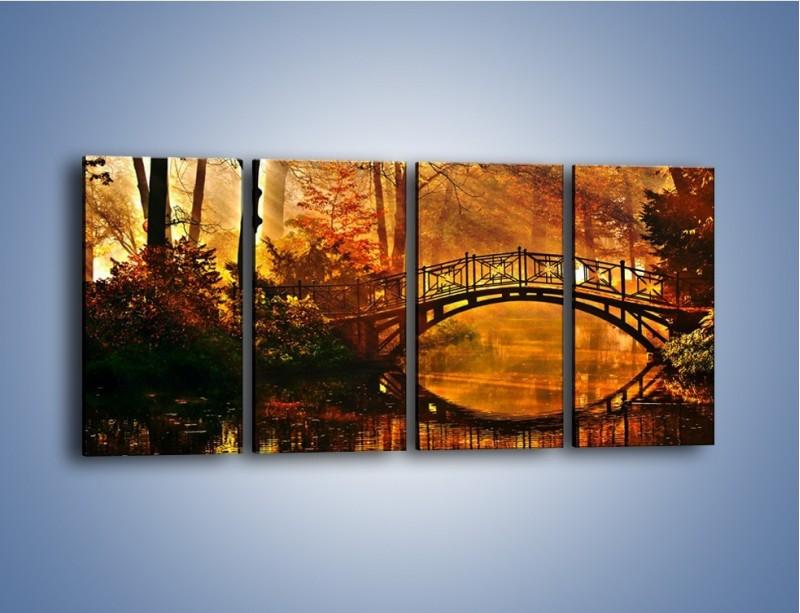 Obraz na płótnie – Cudowny spacer jesienną porą – czteroczęściowy KN1319AW1