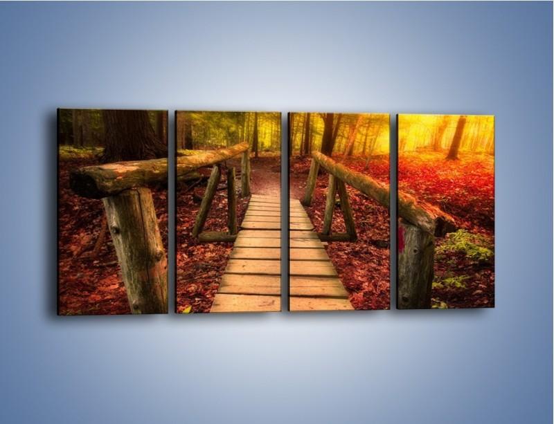Obraz na płótnie – Krótkie przejście przez las – czteroczęściowy KN1330AW1