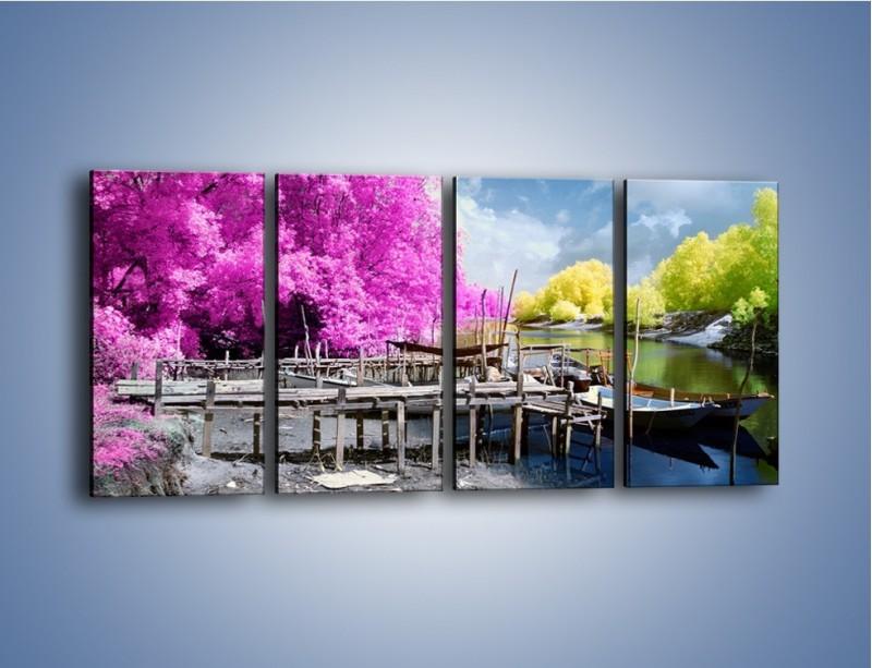 Obraz na płótnie – Wyraźne kolory w szarym tle – czteroczęściowy KN1334AW1