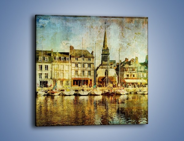 Obraz na płótnie – Łódki nad brzegiem miasteczka w stylu vintage – jednoczęściowy kwadratowy AM108