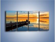 Obraz na płótnie – Bliskość na drewnianym pomoście – czteroczęściowy KN1361AW1