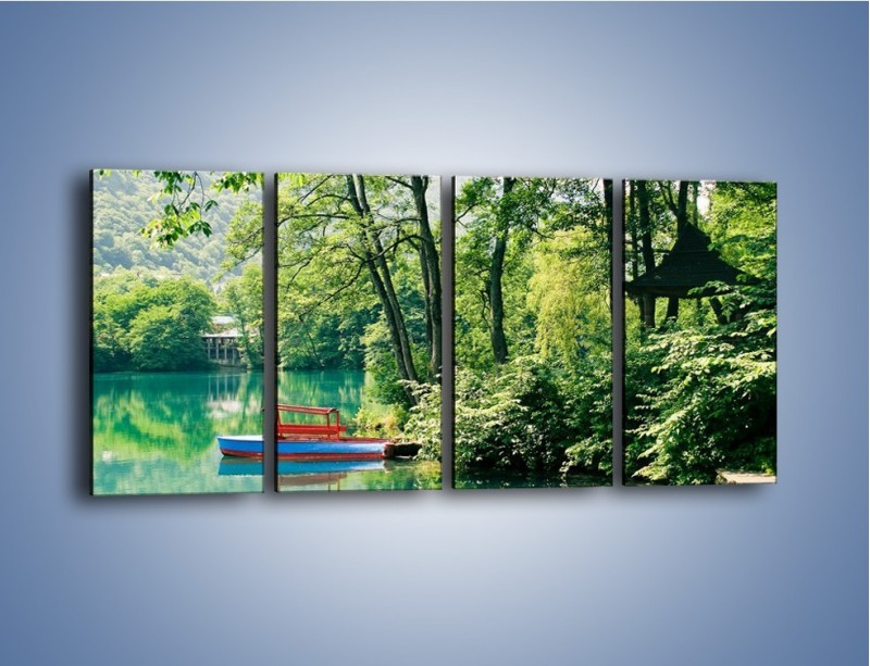 Obraz na płótnie – Wakacje nad jeziorem – czteroczęściowy KN155W1