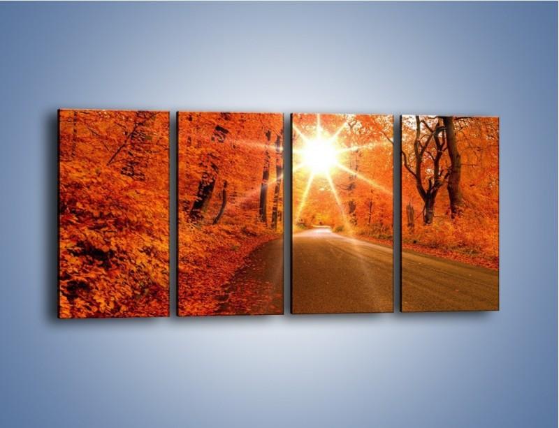 Obraz na płótnie – Droga pełna słońca – czteroczęściowy KN160W1