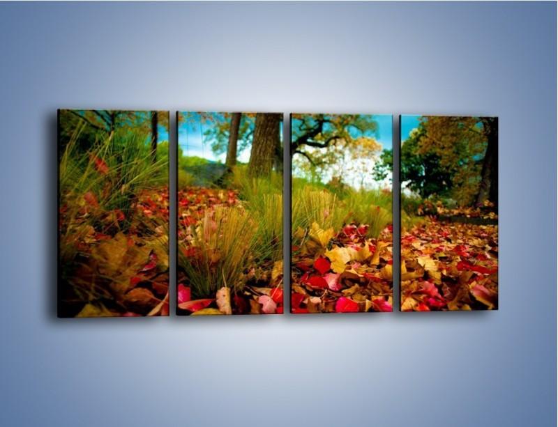 Obraz na płótnie – Droga usłana liśćmi – czteroczęściowy KN172W1