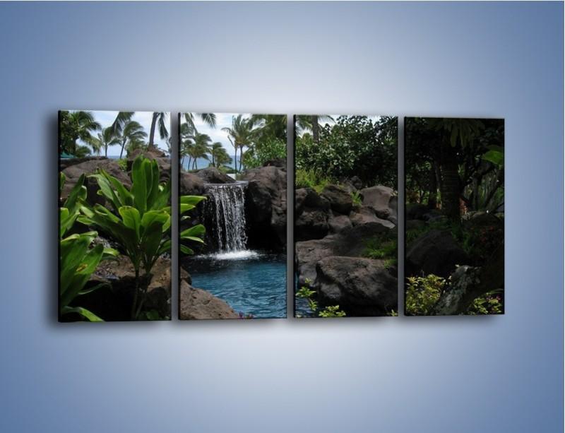 Obraz na płótnie – Wodospad wśród palm – czteroczęściowy KN208W1