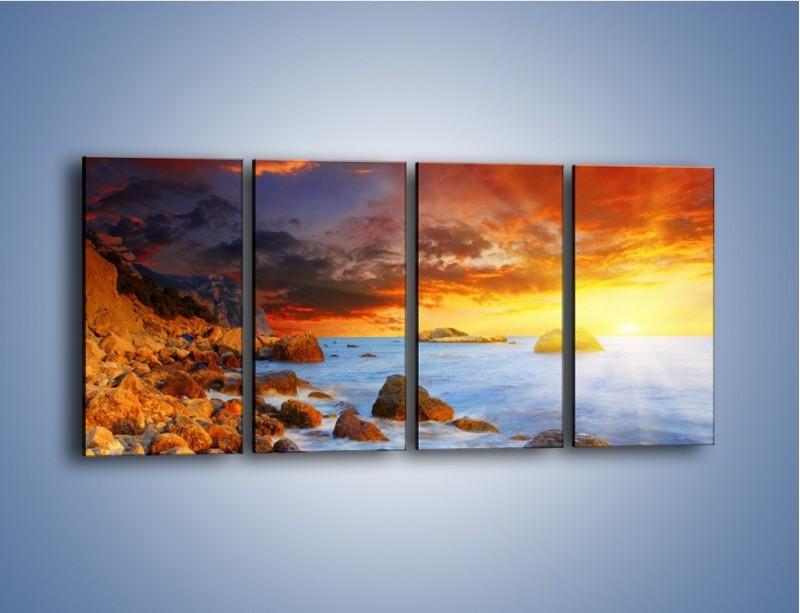 Obraz na płótnie – Słońce odbite w kamieniach – czteroczęściowy KN267W1