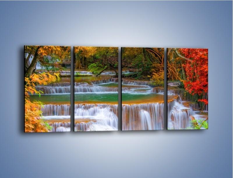 Obraz na płótnie – Schodki z wodospadów – czteroczęściowy KN287W1