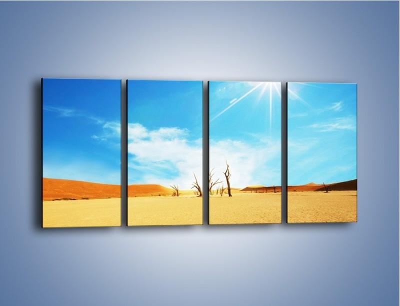 Obraz na płótnie – Błękit nieba i słońce w ziemi – czteroczęściowy KN331W1