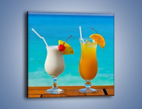 Obraz na płótnie – Pomarańcza i ananas w drinkach – jednoczęściowy kwadratowy JN181