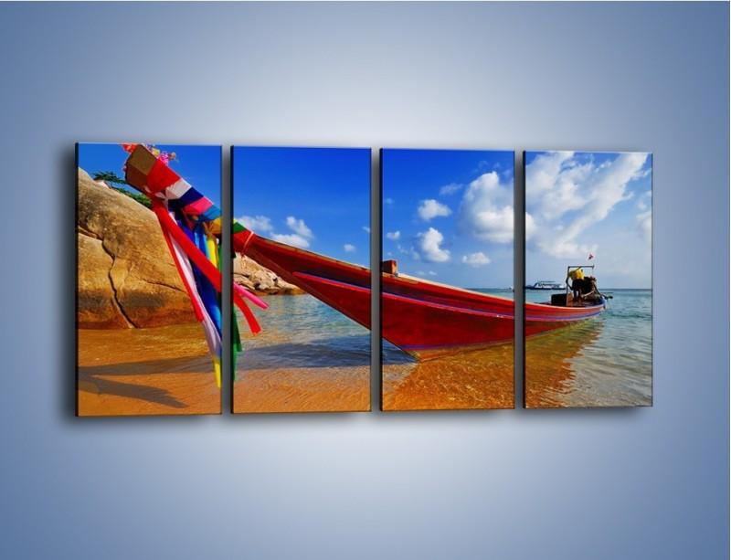 Obraz na płótnie – Kolorowa łódź na brzegu – czteroczęściowy KN415W1
