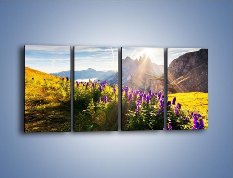 Obraz na płótnie – Góry w poświacie słońca – czteroczęściowy KN502W1