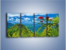 Obraz na płótnie – Bordowe kwiaty w górskim krajobrazie – czteroczęściowy KN561W1