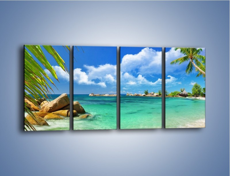 Obraz na płótnie – Tropikalna wyspa z katalogu – czteroczęściowy KN565W1