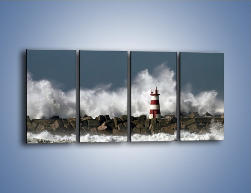 Obraz na płótnie – Latarnia morska w sztormie – czteroczęściowy KN626W1