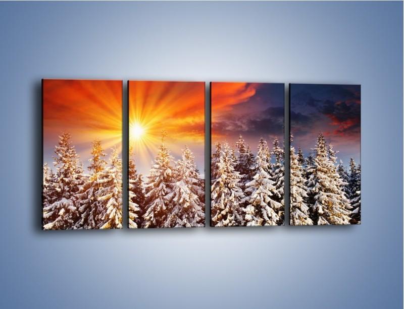 Obraz na płótnie – Choinki w środku zimy – czteroczęściowy KN682W1