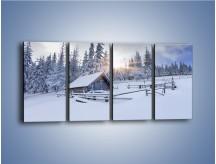 Obraz na płótnie – Chatka zatopiona w śniegu – czteroczęściowy KN696W1
