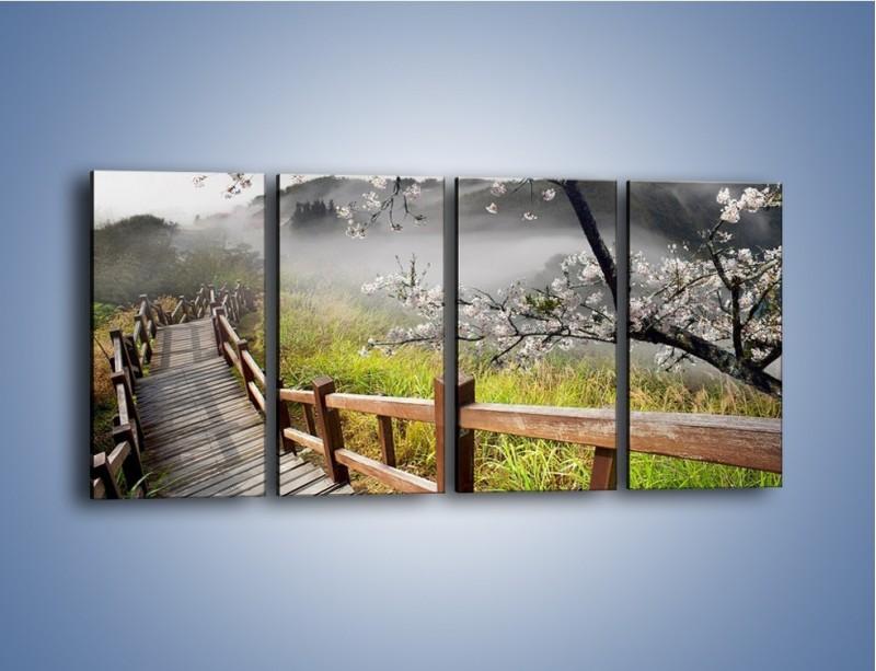 Obraz na płótnie – Drzewo wiśni i kręte schody – czteroczęściowy KN698W1