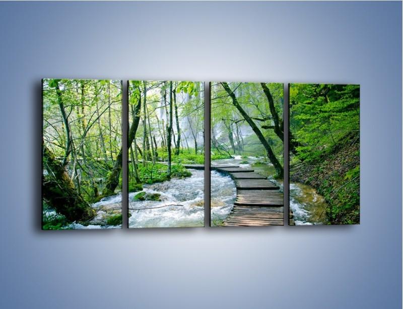 Obraz na płótnie – Drewniana kładką przez potok – czteroczęściowy KN720W1