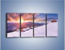Obraz na płótnie – Chatka w śnieżnym dywanie – czteroczęściowy KN725W1