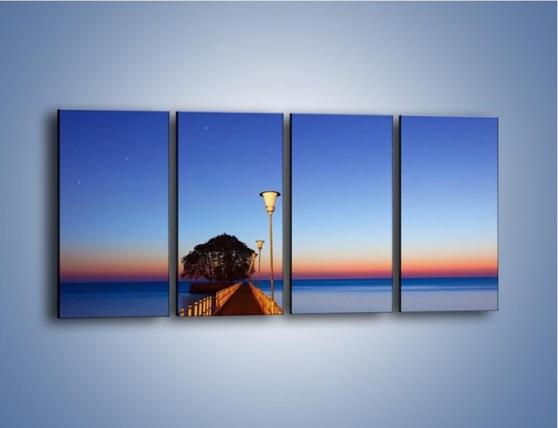 Obraz na płótnie – Wieczorny spacer po tafli morza – czteroczęściowy KN759W1