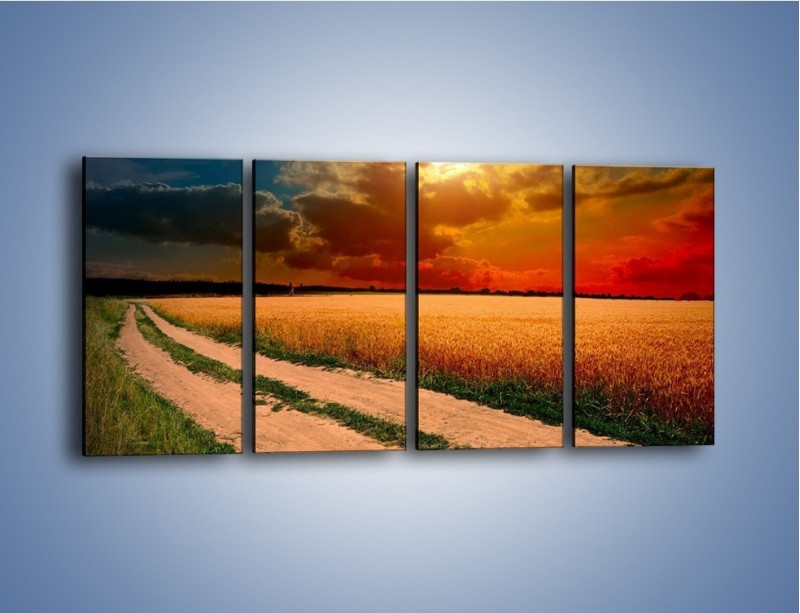 Obraz na płótnie – Zbożowa polana i jej cały urok – czteroczęściowy KN776W1