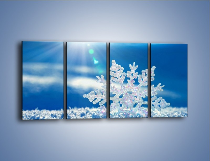 Obraz na płótnie – Diamentowa śnieżynka – czteroczęściowy KN808W1