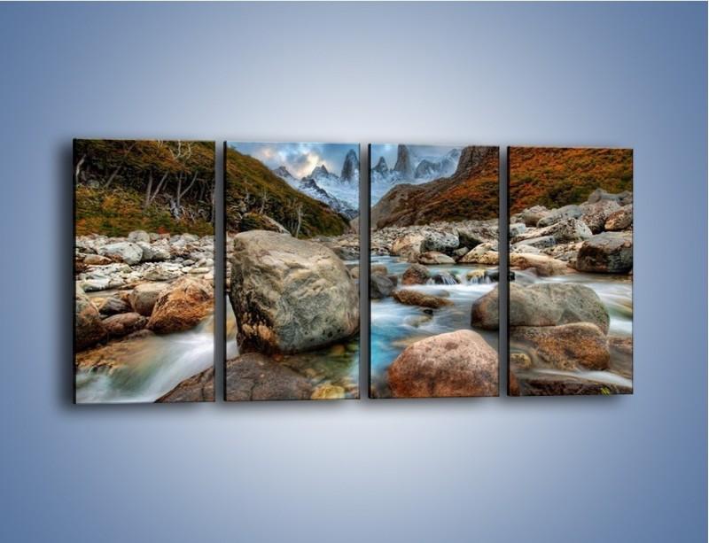 Obraz na płótnie – Niebezpieczny spacer po mokrych kamieniach – czteroczęściowy KN810W1
