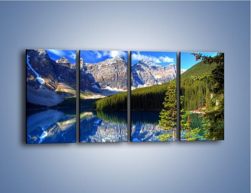 Obraz na płótnie – Góry i ich wodne odbicie – czteroczęściowy KN839W1