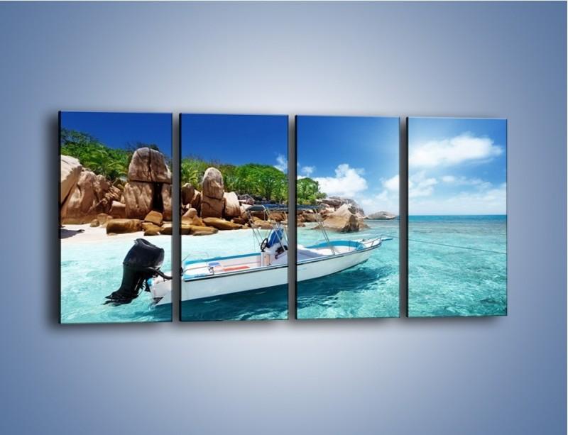 Obraz na płótnie – Błękit w wodzie i niebie – czteroczęściowy KN852W1