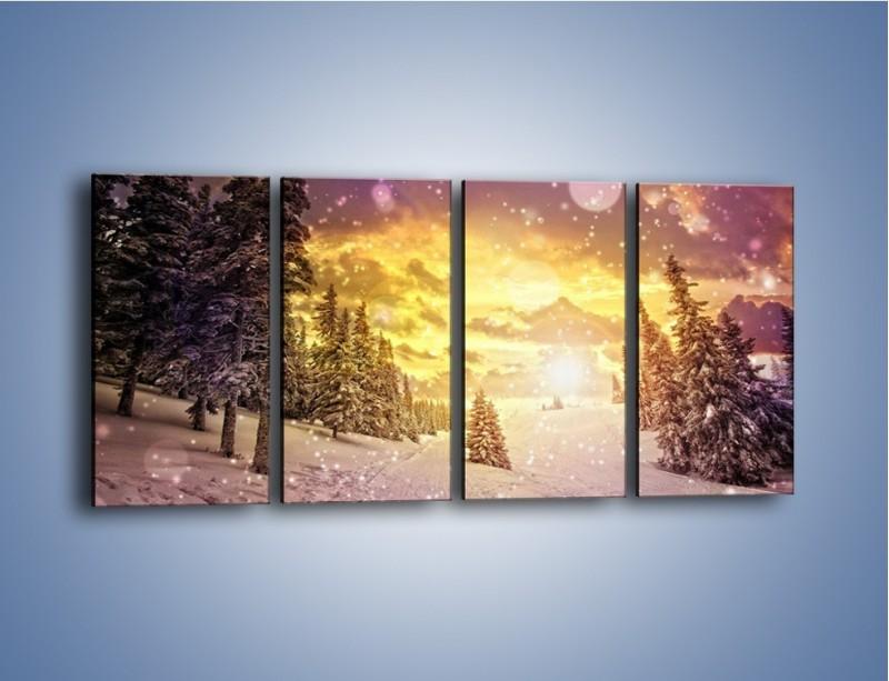 Obraz na płótnie – Śnieżna kraina – czteroczęściowy KN868W1